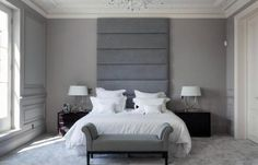 Bedroom,Terrific Bedroom Designs With Tall Gray Upholstered Headboard Combine With Wooden Bedside Cabinet Drawers And Bedside Bench,Best Upholstered Headboard Designs To Comfortable Bedroom Blue Carpet Bedroom, Gray Bedroom, Bedroom Decor, Bedroom Ideas, Master Bedroom, Bedroom Modern, Modern Wall, Gray Upholstered Headboard, Padded Headboards