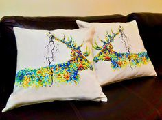 Set of Two 4K Unique Stag Art pillows cover 100% cotton / egyptian handmade silk pillow case pillowcase cushion cover Bedroom Present