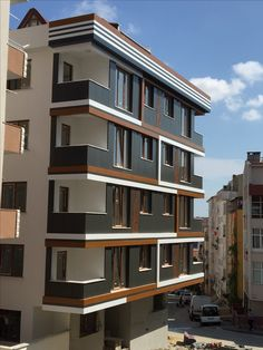 Kompozit dış cephe Residential Building Design, Architecture Building Design, Building Facade, Facade Design, Residential Architecture, Exterior Design, Modern House Plans, Modern House Design, Building Elevation