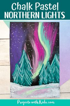 Chalk Pastel Northern Lights - - Learn about layering and blending pastels with this gorgeous northern lights chalk pastel art project! A beautiful winter art project kids will love creating. Chalk Pastel Art, Oil Pastel Art, Chalk Pastels, Chalk Art, Oil Pastels, Art And Illustration, Illustrations, Northern Lights Tattoo, Weather Art