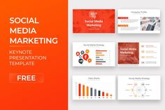 Social Media Keynote Template Free Download Free Powerpoint Templates Download, Free Powerpoint Presentations, Powerpoint Presentation Templates, Keynote Template, Marketing Presentation, Data Charts, Social Media Marketing, Google
