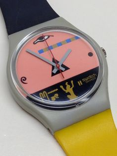 This is a vintage Swatch Watch known as Osiris GM102 from the Spring Summer Collection of 1986. The watch is running (note the second hand