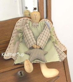 Prim Primitive Homespun Fabric Rag Doll Country Girl Angel -should try to do some of these with burlap wings.