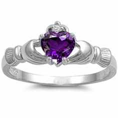 Rhodium Plated Sterling Silver Wedding & Engagement Ring Amethyst CZ Claddagh Ring ( Size 4 to Silver Claddagh Ring, Sterling Silver Rings, 925 Silver, Slytherin, Hogwarts, Heart Promise Rings, Heart Ring, Irish Promise Ring, Irish Rings