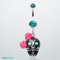 Bright Sugar Skull Rose Belly Ring   I like this. Don't think I could pull it off anymore but still cute.