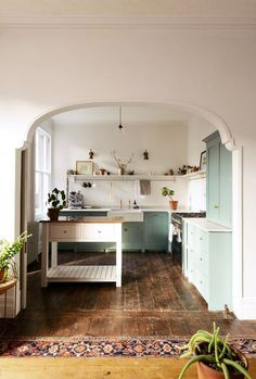 Kitchen Interior Design Remodeling devol kitchen with mint green cabinetry. / sfgirlbybay - this kitchen is one of devol's divine spaces -- an Edwardian Villa in Cardiff, on the south coast of Wales, reminiscent of how our kitchens used to look Interior Design Minimalist, Interior Design Kitchen, Kitchen Decor, Kitchen Layout, Room Kitchen, Kitchen Ideas, Dining Room, Kitchen Cabinets, Navy Cabinets
