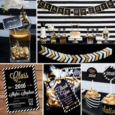 Black and Gold Graduation Party Printables Set - Gold Graduation Party - Instant Download & Edit File with Adobe Reader - Print at Home!