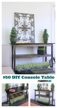 Build it:  $50 Console Table- free and easy plans from https://sawdustgirl.com. #DIY #Furniture #Plans