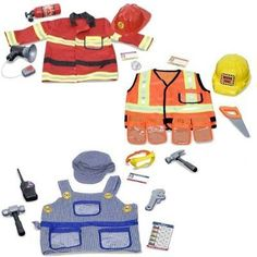 Melissa & Doug Deluxe Role Play Costume Bundle: Fire Chief, Construction Worker and Train Engineer for Boys Ages 3-6 by Melissa and Doug. Save 17 Off!. $74.98. Here is everything your fire fighter needs in an emergency. This authentic looking fire fighting gear is great for imaginative play. Includes helmet, fire extinguisher and lots of necessities. Includes a bright red, machine-washable jacket high-lighted with reflective material. Exceptional Quality and Value and enrich...