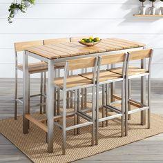 Macon+7-Piece+Rectangular+Teak+Outdoor+Bar+Table+Set+-+Natural+Teak