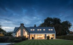"""Private Residence, Oxfordshire - dpa lighting consultants - """"Right Light, Right Place, Right Time"""" ™ Light Art, Lighting Design, Facade, Beautiful Homes, Construction, Mansions, Architecture, House Styles, Arquitetura"""