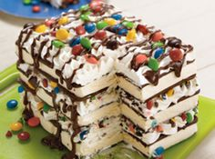 12	ice cream sandwiches  1	6.5 oz. can	 white or chocolate aerosol whipped cream  1 bx	10 oz. bag	 candy coated chocolate or peanut butter pieces, coarsely chopped