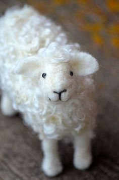 Needle Felted Wool Sheep Sculpture by Teresa Perleberg: