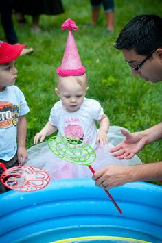 Small pool filled with bubbles for kids birthday party!
