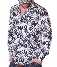 Alexander Mcqueen MCQ White Shirt Color: white Lined collar and placket MCQ printed matter Fabric: Cotton Sizing: Model is and is wearing a. Alexander Mcqueen, Colorful Shirts, Long Sleeve Shirts, Shirt Dress, Designer Clothing, Fabric, Mens Tops, Cotton, How To Wear