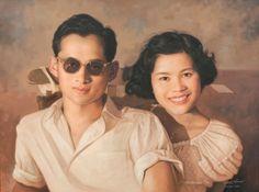 รวมภาพพระบรมสาทิสลักษณ์ : ภาพพระบรมสาทิสลักษณ์ (64)ผลงานโดย อภิชัย การิกาญจน์ King Phumipol, King Rama 9, King Of Kings, King Queen, King Thailand, Queen Sirikit, Bhumibol Adulyadej, Great King, Queen Mother