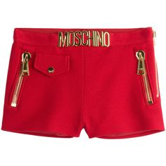 Moschino proudly embellish these red cotton piqué shorts with their signature gold-tone logo, adding a showy element to the fitted silhouette of this pair - Re…