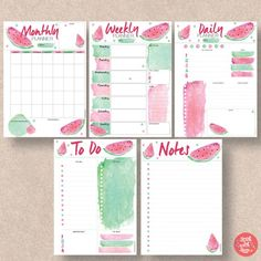 Watermelon Printable Planner 5 pack includes Daily Planner, Weekly Planner, Monthly Planner, To Do Planner and Notes Planner. To Do Planner, 2018 Planner, Monthly Planner, Project Planner, Agenda Printable, Printable Planner Pages, Planner Template, Free Printable, Bullet Journal Themes