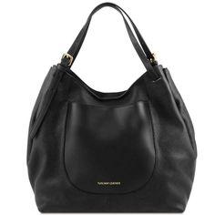 Cinzia - Shoppingbag i mykt skinn - Sort