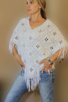 Caracol - Inspired Jewelry and Handbags - Leather Poncho | Hand Crocheted Cotton | Bohemian Western | Fringe | Caracol, $125.00 (http://www.caracolsilver.com/leather-poncho-hand-crocheted-cotton-bohemian-western-fringe-caracol/)