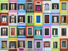 windows on the Venetian island of Burano, Italy  In the photos, the highly colourful windows of Burano, Italy can be seen. The windows of Porto, Portugal, also feature bright colours, however there is an obvious difference between Porto and Burano, with the Porto windows featuring more tiling, alongside featuring a slightly more subdued colour palette.   Picture: André Gonçalves/REX