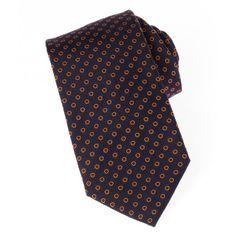 cravate en soie tissée marine à motifs ronds oranges - 7 cm, découvrez  cette cravate 2a06ce26984