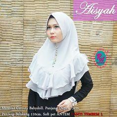 Khimar-mini-terbaru-rempel-pet-antem-Aisyah-rizqy-ananda-hijab (19) Hijab Fashion, Women's Fashion, Hijab Dress, Shawl, Sewing, Model, How To Wear, Dresses, Style