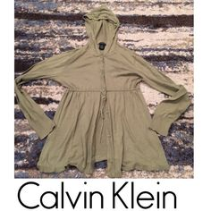 Calvin Klein Jeans Green Cardigan Hooded Sweater Calvin Klein Jeans Moss Green Cardigan Hooded Sweater. Empire waist tie, button down, long sleeve. 100% cotton. No flaws, stains, or piling. Feel free to make an offer. Calvin Klein Sweaters Cardigans