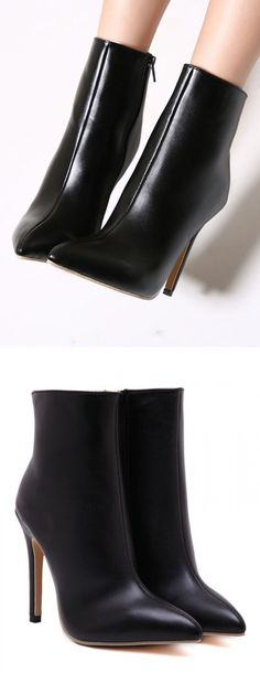 Love, love, love. Black heeled ankle boots.