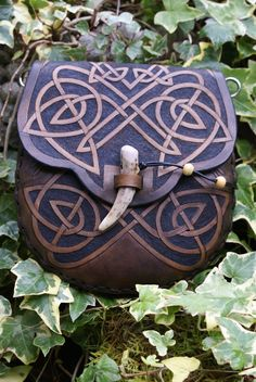mid brown knotwork dual purpose sporran belt pouch with leaping hares. Sky Raven Wolf design. (Sporran zill bag)