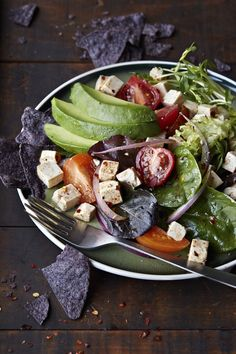 Mexican Tofu Tortilla Salad with Avocado (dairy-free, gluten-free, and vegan)