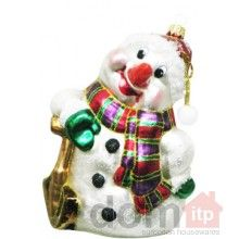 """Christmas Tree Ornament - Snowman with a Shovel. 6.25"""" x 4.25"""". Hand painted and decorated in Poland."""