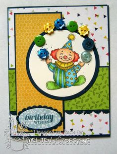 Meljen's Design Team and Challenge Blog - 'Circus Clown' digital stamp card by Tracie