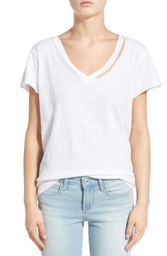 Free shipping and returns on LNA 'Fallon' Ripped Tee at Nordstrom.com. This supersoft cotton tee gets a dose of post-apocalyptic cool with a shredded scooped neckline, raw-edge short sleeves and a slouchy, relaxed fit.