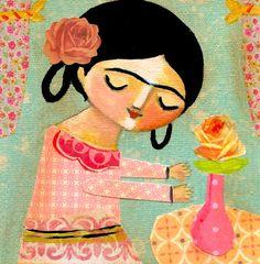 Collage ORIGINAL pintura a FRIDA Kahlo encontrar la paz por tascha