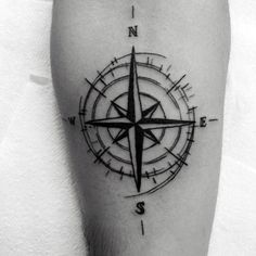 Top 77 Travel Tattoo Ideas Inspiration Guide] - Simple Nautical Star Compass Travel Leg Tattoo On Gentleman With Black Ink - Trendy Tattoos, Tattoos For Guys, Tattoos For Women, Leg Tattoos, Sleeve Tattoos, Tatoos, Tattoo Forearm, White Tattoos, Star Tattoos