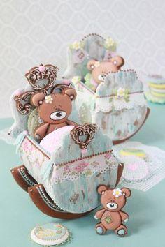 Baby Cradle Cookies by Julia M Usher Cookie Connection Fancy Cookies, Iced Cookies, Cute Cookies, Cookies Et Biscuits, Cupcake Cookies, Sugar Cookies, Cookies Decorados, Galletas Cookies, Teddy Bear Cakes