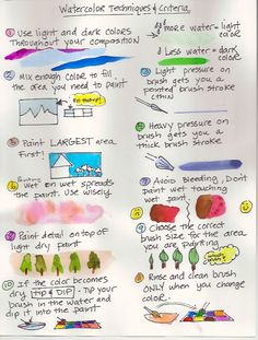 Watercolor Techniques and Criteria for Elementary Art Students Watercolor Pencil Art, Watercolor Tips, Watercolor Projects, Watercolour Tutorials, Watercolor Beginner, Watercolor Paintings For Beginners, Watercolor Techniques, Colored Pencil Techniques, Art Curriculum