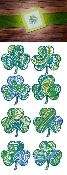 Ornamental Shamrocks design set is available for instant download at designsbyjuju.com