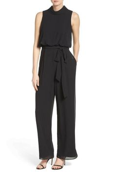 bc1bc0204a11  160 VINCE CAMUTO Black Roll Collar Mock Neck Blouson Chiffon Jumpsuit Sz  12 New  fashion