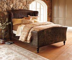 Leather Wingback Headboard Bed