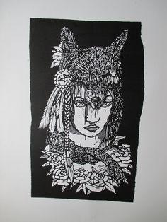 wild child, linoleum carving print