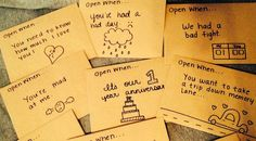 Open when letters series. This series has multiple days with a new letter topic everyday. The series tells you some ideas on what you can put inside.
