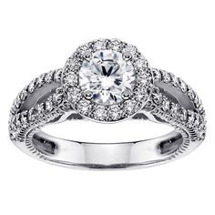 14k or 18k White Gold 1 3/5ct TDW Halo Brilliant-cut Diamond Engagement Ring (G-H, SI1-SI2) (18k Gold - Size 7.5), Women's