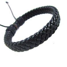 Cuff Black Leather Bracelet With Rope Adjustable B457. $3.00, via Etsy.
