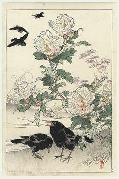 Kono Bairei (1844 - 1895) Japanese Woodblock Print Crows