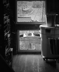 View of the Waterwheel from inside the Gristmill at Homestead Heritage in Waco, TX.