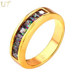 U7 CZ Zircon Brand Ring Fashion Jewelry Gold/Platinum Plated 5MM Wide Party Gift Round Rings For Women R426