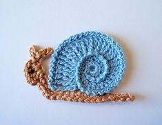 Crochet Snail Applique van GoldenLucyCrafts op Etsy
