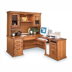 Kathy Ireland Home by Martin Home Furnishings Huntington Oxford L-Shaped Executive Desk with Hutch